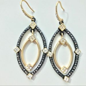 Jewelry - Gold and Black Crystal Teardrop Dangle Earings
